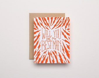 Will you be my Best Man - Letterpress Wedding Card