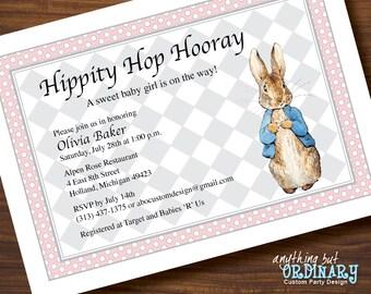 Peter Rabbit Baby Shower Invitation, Pink and Gray or CUSTOM COLORS, Peter Rabbit Printable Invite, printable digital file