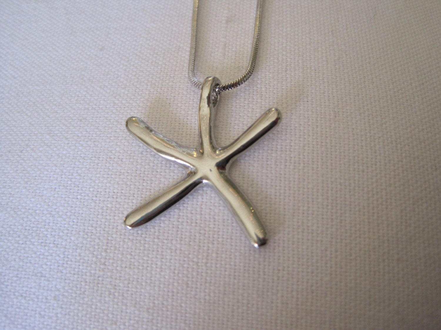 silver starfish necklace plain silver starfish necklace
