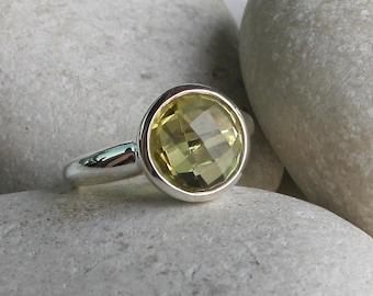 Lemon Quartz Ring- Round Yellow Quartz Ring- Solitaire Yellow Gemstone Ring- Yellow Topaz Ring- Silver Simple Yellow Ring- Stacking Ring