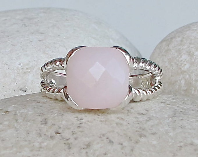 Pink Opal Statement Ring- October Birthstone Ring- Pink Gemstone Silver Ring- Double Band Solitaire Ring- Square Shaped Pink Ring