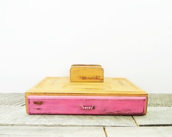 Jewelry Box Valet - Hot Pink Orange - Modern Vintage Chic