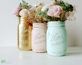 Wedding Decor Centerpiece Mint Peach Blush Gold Painted Mason Jars Vase