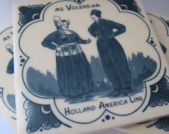 Set of 4 Vintage Dutch Holland America Line TILE Coasters or Decorative Tiles/ Dutch Folk Art Home Decor/ Barware/ Kitchen or Bath Tiles
