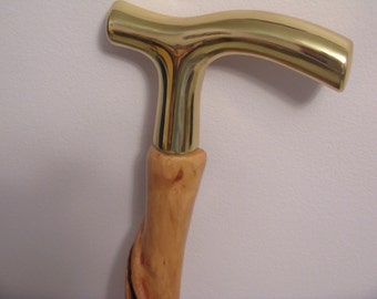 Twisted walking stick/ smooth brass handle