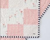 Flamingo Crib Quilt, Flamingo Baby Bedding, Toddler Quilt