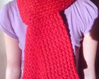 Knit Scarf -Red- Thick, Soft, Warm, Fluffy, Chunky, Fall and Winter Accessories, Teen, Adult, Women, Men, Unisex