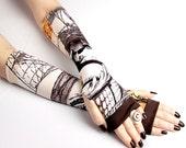 Pin Up Tattoo Fingerless gloves - Nautical Street Fashion mittens Tribal Style Belly Dance Fusion Urban Retro Brown Goth Victorian Steampunk