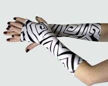 Black and White Spirals fingerless gloves - Arm Warmer Handschuhe Silky  Gothic Yoga Cycling Running Emo Vampire Spirals Goth Gypsy