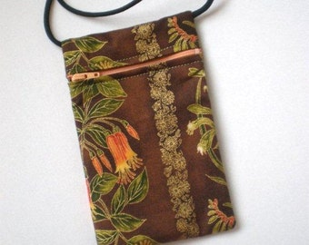 Pouch Zip Bag Australian Native Flower Fabric.  Great for walkers, markets, travel. Cell Phone Pouch. Evening Purse.