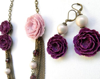 Violet Jewelry Flower Jewelry Peony Jewelry Statement Necklace Violet Flower Earrings Pink Jewelry Polymer Jewelry Gift For Her Flowers