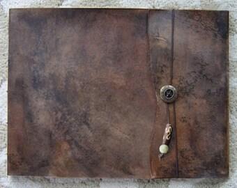 Leather Sketchbook, Refillable Sketchbook, Large, sketchbook cover - Old World, Journal, Drawing Book, Leather Bound, Notebook, Guest Book