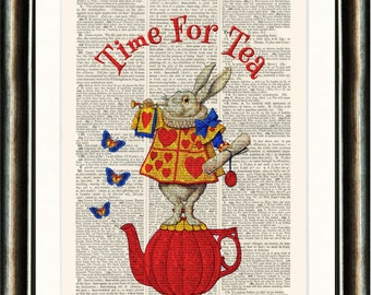 Alice in Wonderland White Rabbit Teapot vintage book page print on a page from a late 1800s Dictionary