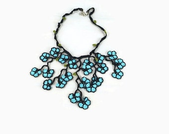 Crochet Necklace Crochet Oya Lace Necklace – Blue Flower Pendant Necklace - Turkish Oya Jewelry - Boho Tribal Gypsy - Knitted Necklace, spri