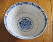 Asian Rice Grain Bowl, Blue and White for Rice or Soup Japan