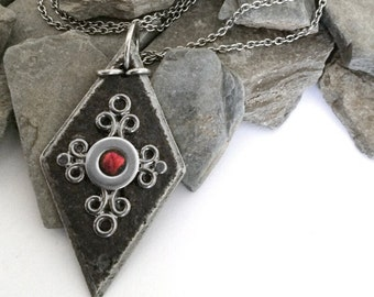 As seen on The Vampire Diaries Bonnie Necklace, Medieval Black Diamond Shaped Pendant, Crimson Red and Black Jewelry  Stainless Steel Chain
