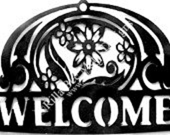 Fancy Flowers Welcome Custom Metal Sign perfect for your front door