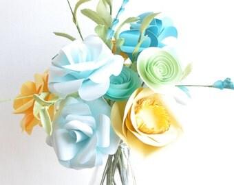Teal and Yellow Paper Flowers, Paper Flower bouquet, Valentine's Day Bouquet, Paper flower arrangement