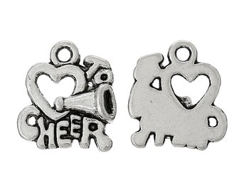 "10 Pieces Heart Antique Silver ""To Cheer"" Message Charms"
