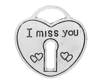 "4 Pieces Antique Silver Large Heart Lock ""I Miss You"" Carved Charms"