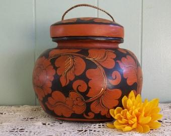 Ginger jar, wood ginger basket, handpainted wooden tea basket, storage container, home decor, bath, rust & black floral, shelf decor, office