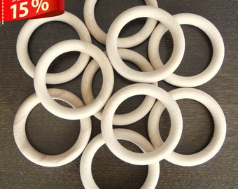 15 Unfinished Wood Rings / Wood bracelets - 3 5/8 inch / 15% discount