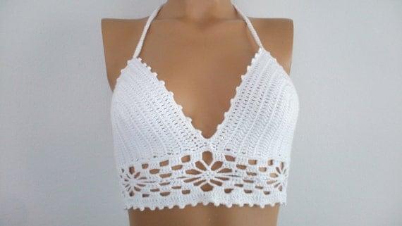 White Crochet Hippie Fringe Halter Top Crochet tank top
