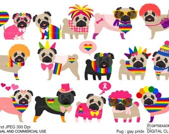Gay pride pug digital clip art for Personal and Commercial use - INSTANT DOWNLOAD