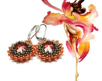 Swarovski Rivoli Earrings. Beaded Rivoli Earrings. Seed bead earrings. Beaded earrings. Bohemian jewelry. Orange earrings.