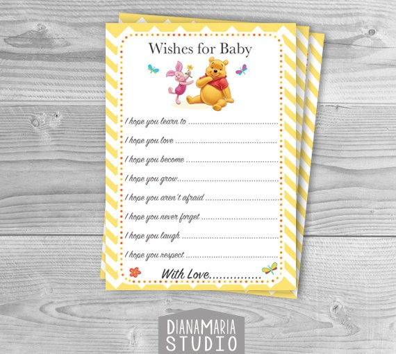 Baby Shower Message For Card: Winnie The Pooh Baby Shower Wishes For Baby Advice Card