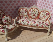Dolls House Miniature 1/12th Scale Sofa and matching Chair