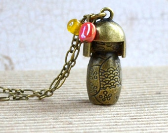 SALE Kawaii 3D Doll Necklace Cute Japanese Pendant Antique Bronze India Beads Japan Kimono Fashion Jewelry Teen Girl Gift Free Shipping