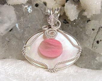 Rhodonite Pendant, Mother of Pearl Pendant, White Shell Pendant Sterling Silver 935 Wire Wrapped in Argentium Anti Tarnish