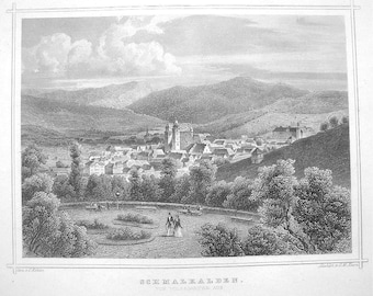 GERMANY Schmalkalden View of Town  - 1860 Original Antique Print Engraving