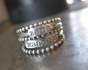 Sterling Stacker Name Ring