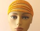 Crochet headband in gold / Adult hair accessory / Gift Idea / Chain headband