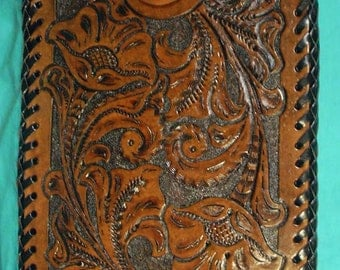 Beautiful Hand-Tooled Leather small Tablet Case - L067