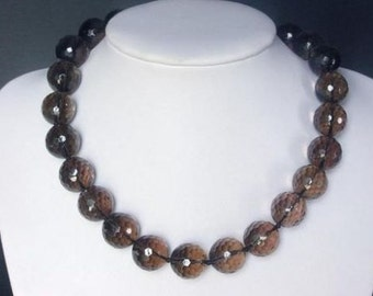 Necklace Smokey Quartz Large 16mm Facet Round Beads NSSQ1156
