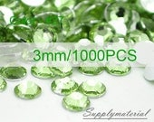 3mm/1000pcs Light Green color Flatback Rhinestone Crystal accessories material supplies