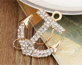2Pcs/Lot Fashion crystal Golden Anchor Alloy Jewelry accessories materials supplies