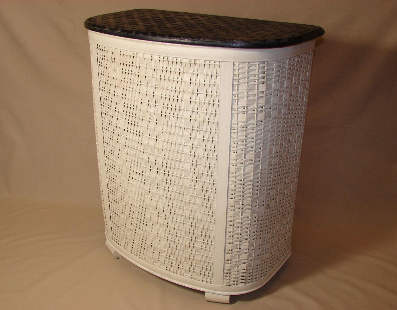 Pearl wick white wicker laundry hamper black vinyl textured - Cane laundry hamper ...