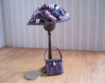 12th Scale Dollhouse Miniature Ladies Hat and Handbag Set in Lavender Silk