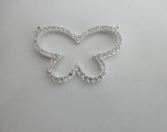 CZ sterling silver open butterfly pendant