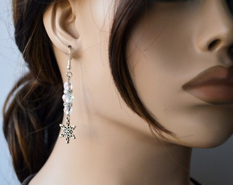 Sparkling Snowflake Earrings, Silver and Glass, Winter Wear