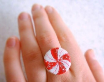 Glitter Peppermint Candy Ring Food Jewelry