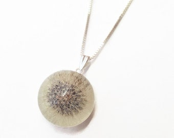Dandelion necklace, unique pendant, dandelion resin, terrarium necklace, statement necklace in sterling silver, dandelion orb, resin jewelry
