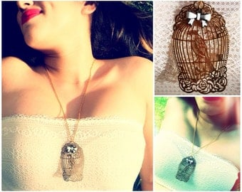 Dainty Bird cage White Bow Necklace