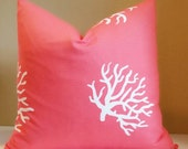Pillow cover, Coral and white indoor outdoor beach pillow cover - 16x16, 18x18, 20x20 Double Sided