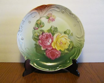 Large Decorative Plate Hand Painted Yellow Pink Roses
