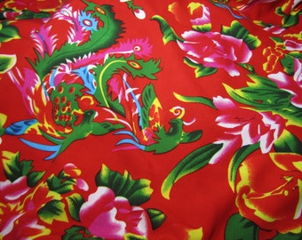 """Chinese retro fabric with peonies and phoenixes - 1 yd. traditional Chinese fabric symbolising good fortune, Chinese floral fabric, 56"""" wide"""